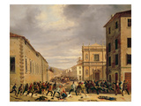 The Battle of 21st March 1849 in the Piazzetta Santa Barnaba in Brescia Giclee Print by Faustino Joli
