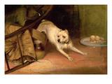 Dog Chasing a Rat Giclee Print by Briton Rivière