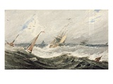 Boats on a Stormy Sea (W/C over Graphite on Wove Paper) Premium Giclee Print by Francois Louis Thomas Francia