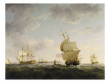 Shipping in the English Channel, c.1755 Giclee Print by Charles Brooking