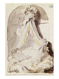 Lovers' Bed (Pen and Ink and Wash on Paper) Reproduction procédé giclée par Jean-Honore Fragonard