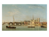 The Building of Westminster Bridge with an Imaginary View of Westminster Abbey, C.1742 Giclee Print by Samuel Scott