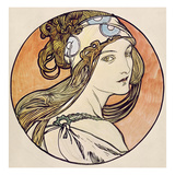 Woman with a Headscarf (W/C on Paper) Giclee Print by Alphonse Marie Mucha
