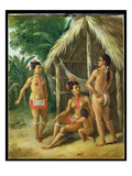 A Leeward Islands Carib Family Outside a Hut, c.1780 Giclee Print by Agostino Brunias