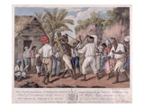 A Cudgelling Match Between English and French Negroes on the Island of Dominica, 1779 (Aquatint) Giclee Print by Agostino Brunias