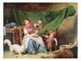 The Woman and the Mouse, C.1798 (Oil on Panel) Giclee Print by Martin Drolling