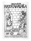 Atahualpa Inca in His Prison at Cajamarca (Woodcut) Giclee Print by Felipe Huaman Poma De Ayala