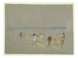 Cricket on the Goodwin Sands (Chalk, W/C and Bodycolour on Paper) Giclee Print by J. M. W. Turner