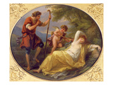 A Sleeping Nymph Watched by a Shepherd, 1780 (Oil on Copper) Giclee Print by Angelica Kauffmann