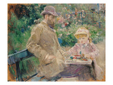 Eugene Manet (1833-92) with His Daughter at Bougival, C.1881 (Oil on Canvas) Giclee Print by Berthe Morisot