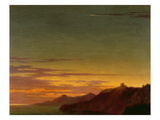 Close of the Day: Sunset on the Coast, C.1768-75 (Oil over Graphite on Laid Paper) ジクレープリント : アレクサンダー・カズンズ
