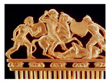 Comb Ornamented with Warriors in Combat, Five Crouching Lions Below (Gold) (Detail of 389345) Giclee Print by  Greek