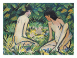 Girls in the Open Air (Pastel on Canvas) Giclee Print by Otto Muller or Mueller