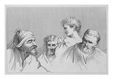 Head Studies from Cartoons at Hampton Court (Engraving) Giclee Print by William Hogarth