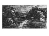 Landscape Behind the Defile, 1871 (Etching) Giclee Print by Rodolphe Bresdin