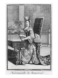 Mademoiselle De Mennetoud Playing the Harpsichord (Engraving) Giclee Print by Nicolas Bonnart
