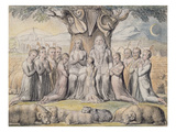 Illustrations from the Book of Job, Pl.2 (Page 1): Job and His Family, after William Blake Giclee Print by James Thomas Linnell