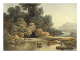 Hilly Landscape with River and Cattle, C.1810 (W/C over Graphite on Wove Paper) Giclee Print by John Glover