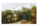 A View Near Matlock, Derbyshire with Figures Working Beneath a Wooden Conveyor, 1785 Giclee Print by Philip James Loutherbourg