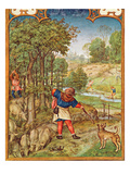 Fol.11V the Month of November: Harvesting Acorns for the Pigs and Hunting Giclee Print by  Flemish