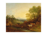 A Landscape with Cattle and Figures by a Stream and a Distant Bridge, c.1772-4 Giclee Print by Thomas Gainsborough