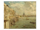 Somerset House Terrace from Waterloo Bridge, C.1819 (Oil on Panel) Giclee Print by John Constable