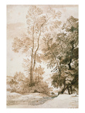 Trees and Deer, after Claude, 1825 (Pen and Ink with Wash on Paper) Giclee Print by John Constable