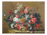 Basket of Flowers Premium Giclee Print by Jean-Baptiste Monnoyer