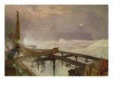 Blue Lights, Teignemouth Pier - Lighting the Lamps at Sunset, 1868 Giclee Print by Alfred William Hunt