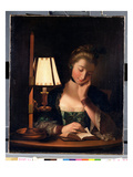 Woman Reading by a Paper-Bell Shade, 1766 Premium Giclee Print by Henry Robert Morland