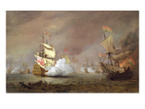 Sea Battle of the Anglo-Dutch Wars, C.1700 (Oil on Canvas) Giclée-Druck von Willem Van De, The Younger Velde