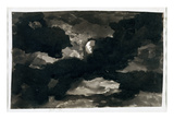 Study of a Clouded Moonlit Sky (Black Wash on Laid Paper) Giclee Print by George Romney