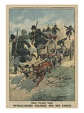 In the Belgian Army, Machine Guns Pulled by Dogs, Front Cover Illustration from 'Le Petit Journal' Giclee Print by  French
