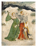 Courtiers Intent on a Snowball Fight, Month of January (Fresco) Giclée-Druck von Maestro Venceslao