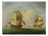 An English Sloop and a Frigate in a Light Breeze Giclee Print by Francis Swaine