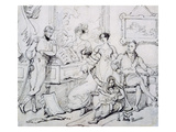 A Family Group around a Piano (Pen and Brown Ink with Graphite on Paper) Giclee Print by George Chinnery