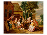 Outside the Inn (Oil on Panel) Giclee Print by Jan Havicksz. Steen