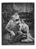 Charles Dickens with Two of His Daughters, C.1865 (B/W Photo) Giclee Print by  English Photographer