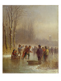 Children Skating, 19th Century Giclee Print by Anton Doll
