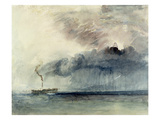 Steamboat in a Storm, C.1841 (W/C and Pencil on Paper) Giclée-tryk