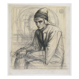 Dante in Meditation Holding a Pomegranate, C.1852 (Pen and Ink and Pencil on Paper) Giclee Print by Dante Gabriel Rossetti
