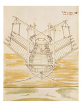 Design for a Warship, Illustration from 'De Machinis' (Pen and Ink and W/C on Paper) Giclee Print by  Mariano di Jacopo