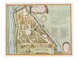Map Showing the Kremlin, Moscow, 1662 (Hand Coloured Etching) Giclee Print by Joan Blaeu