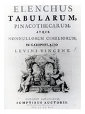 Title Page for 'Elenchus Tabularum' by Levinus Vincent, Published 1719 (Engraving) Giclee Print by  Dutch