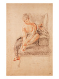 Semi-Nude Woman Seated on a Chaise Longue, Holding Her Foot (Sanguine and Black Chalk on Paper) Giclee Print by Jean Antoine Watteau