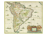 America Pars Meridionalis, Page 93 of 'Atlas Minor Sive Geographia Compendiosa, Qua Orbis Terrarum' Giclee Print by Joannes Jansson