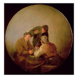 Three Peasants Drinking and Smoking in an Interior Giclee Print by Adriaen Jansz. Van Ostade