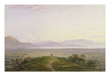 The Plains of Marathon, 1834 (Graphite and W/C with Scratching Out on Paper) Giclée-Druck von John Varley