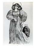Mrs. Morris and the Wombat, 1869 (Pen and Ink on Paper) Giclee Print by Dante Charles Gabriel Rossetti