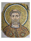 St. Ursicinus: Fragment of a Mosaic from the Basilica Ursiana, the Former Cathedral of Ravenna Giclee Print by  Italian